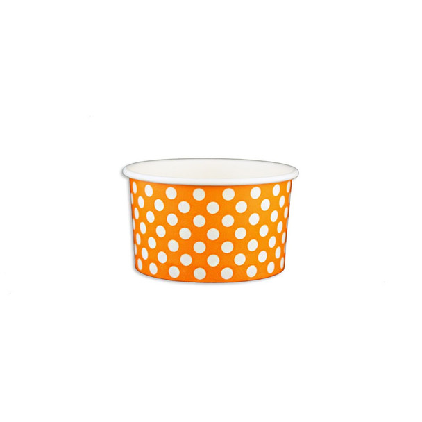 5oz Ice Cream/Froyo Cups 87mm 1000ct Orange Polka Dot, Made In The USA
