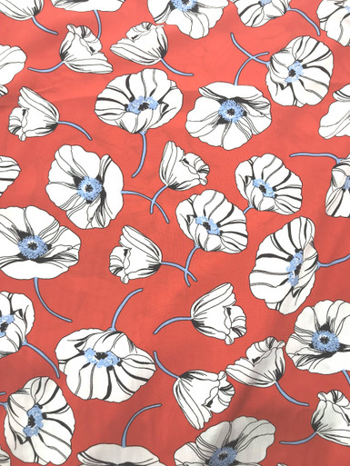 Pimento Red/Ice Blue and White  Floral Viscose Poplin Print