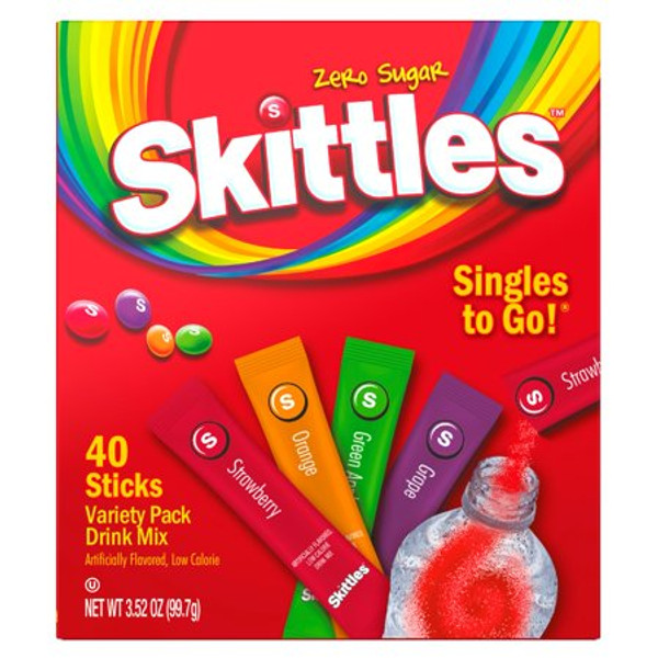(40 Packets) Skittles Variety Pack Sugar Free, On-The-Go, Caffeine Free, Powdered Drink Mix