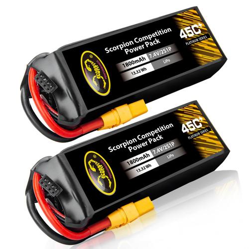 1800mAh 7.4V lipo battery with XT60