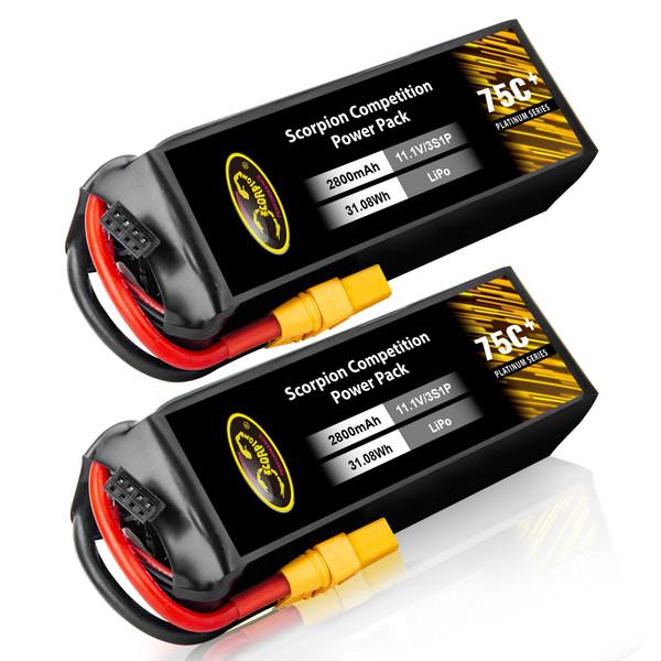 2800mAh 75C 11.1V lipo battery