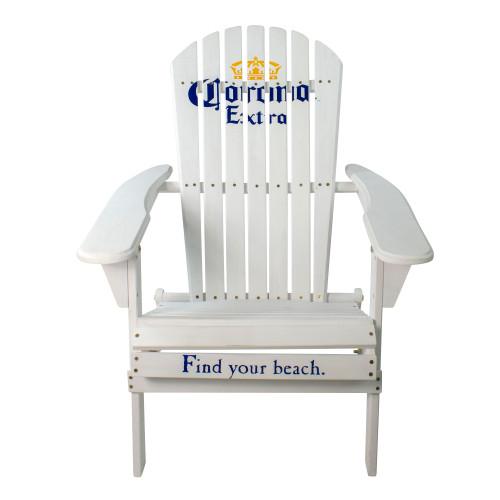 "36"" White Corona Classic Folding Wooden Adirondack Chair"