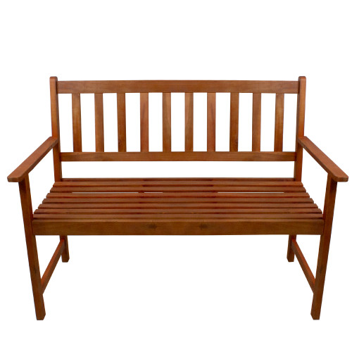 "48"" Light Brown Acacia Wood Outdoor Patio Bench"