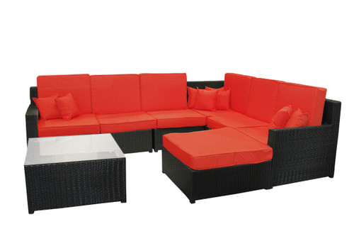 """8 Piece Black and Red Resin Wicker Outdoor Furniture Sectional and Ottoman Set 129"""""""