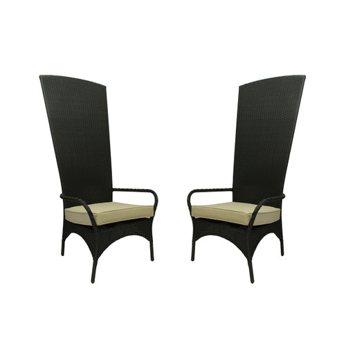 Set of 2 Black Resin Wicker Outdoor Patio King Chairs With Beige Cushions