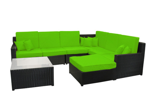 """8 Piece Black and Lime Green Resin Wicker Outdoor Furniture Sectional and Ottoman Set 129"""""""