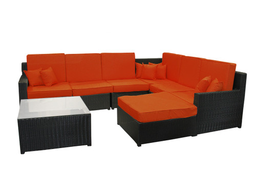 """8 Piece Black and Orange Resin Wicker Outdoor Furniture Sectional and Ottoman Set 129"""""""
