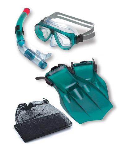 """15.5"""" Teal Green Piranha Mask, Snorkel and Fins Swimming Pool and Water Snorkeling Set"""