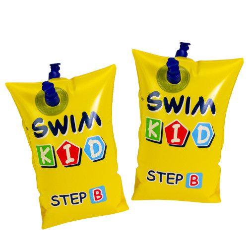 10-Inch Inflatable Yellow Swim Kid Step B Arm Floats - Set of 2