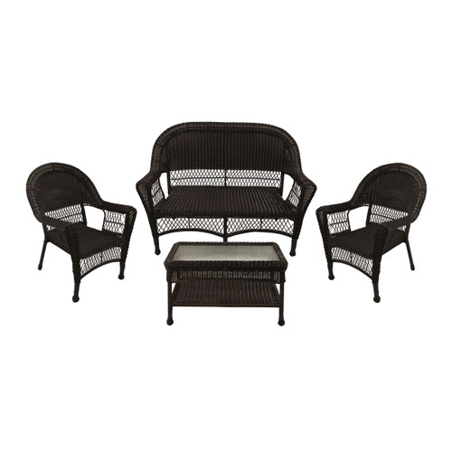 """4 Piece Brown Resin Wicker Patio Furniture Set With Tempered Glass  53"""""""