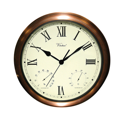 """15"""" White Battery Operated Large Print Roman Numeral Outdoor Clock with Thermometer and Hygrometer"""
