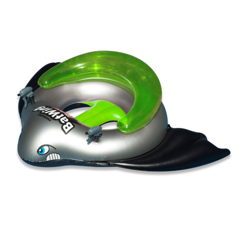 """12.9"""" Green and Gray Water Sports Batwing Fighter Inflatable Ride-On Water Squirt Swimming Pool Toy"""