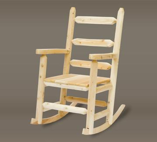 """44"""" Handcrafted Natural Cedar Outdoor Patio Ladder Back Rocking Chair"""