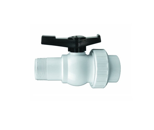 """6.75"""" White and Black Hydro Tools Swimming Pool ABS Threaded Ball Valve"""