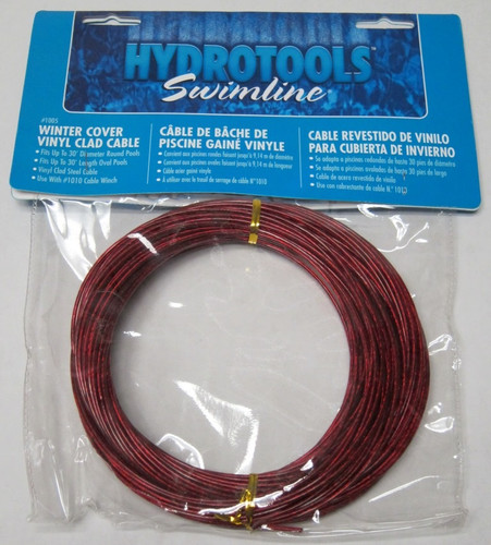 100' Red HydroTools Vinyl-Clad Steel Cable for Above Ground Swimming Pool Winter Covers