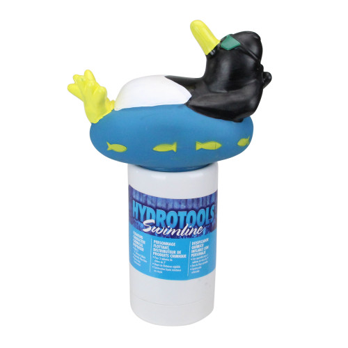 """13"""" Blue and White Cool Penguin Swimming Pool Chemical Dispenser"""