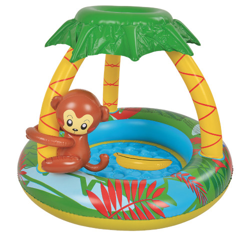 """40"""" Yellow and Brown Palm Tree Inflatable Kiddie Swimming Pool"""
