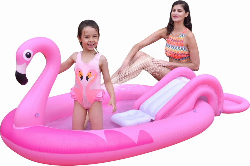 """83"""" Inflatable Pink Flamingo Kiddie Swimming Pool with Sprayer"""
