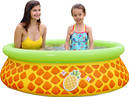 """60"""" Inflatable Yellow and Green Pineapple Kiddie Swimming Pool"""