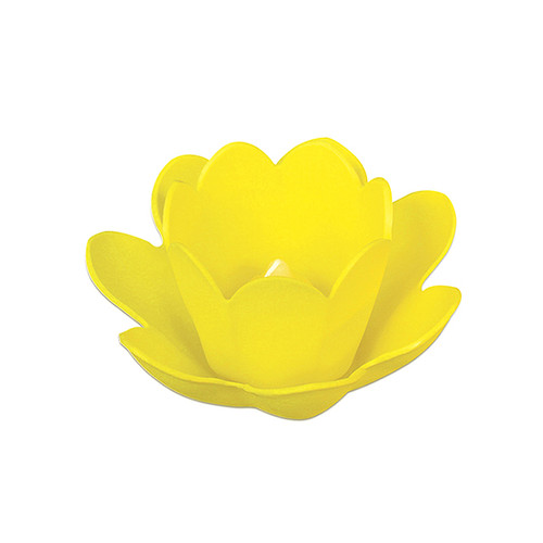"""8.5"""" Yellow Floating Blossom Light with Votive Candle"""