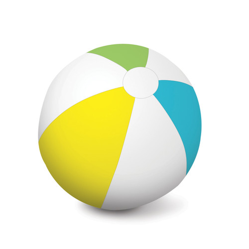 White and Yellow Inflatable 6 Panel Swimming Pool and Beach Ball, 46-Inch