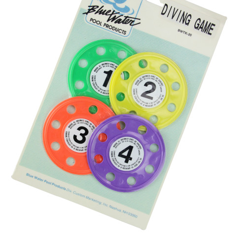 """Set of 4 Vibrantly Colored Swimming Pool Diving Game Discs 4"""""""