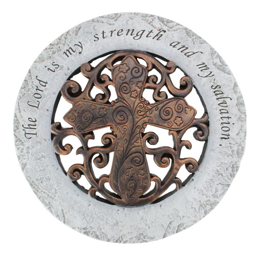 """12"""" Brown and White Religious Inspirational Quote Round Outdoor Patio Garden Stepping Stone"""