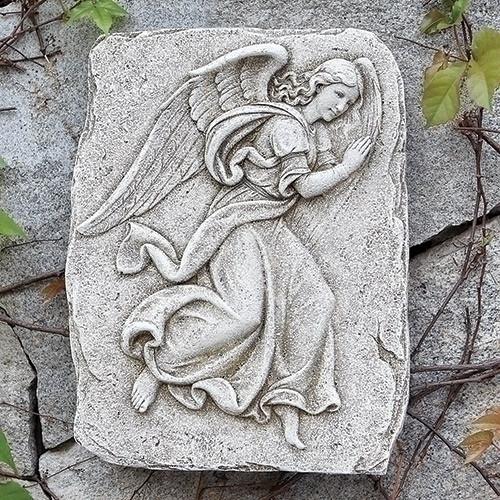 "15"" Gray and Brown Rightward Facing Angel Outdoor Garden Wall Plaque"