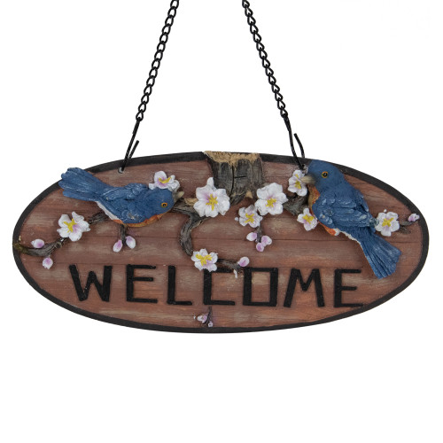 """12"""" Hanging Welcome Sign with Bluebirds and Flowers"""