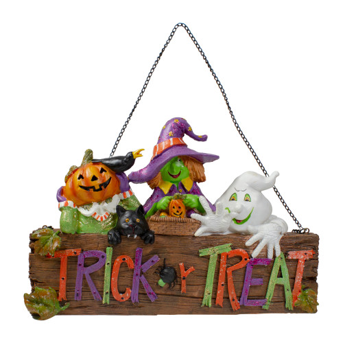 """13.5"""" Trick or Treat Halloween Pumpkin, Ghost, and Witch Wall Decoration"""