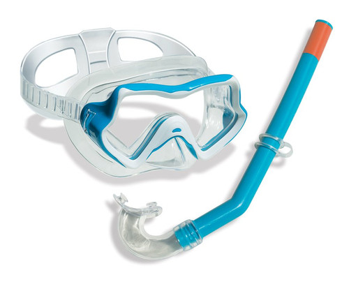 Blue Children's Water Sports Silicone Swimming Goggle and Snorkel Set