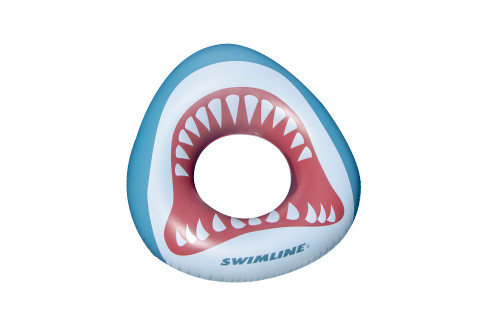 """38"""" White and Gray Inflatable Kids Shark Mouth Pool Ring"""