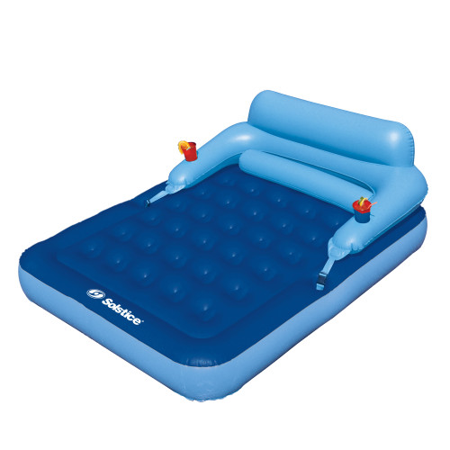 80-Inch Inflatable Blue Malibu Pool Mattress with Removable Back Rest