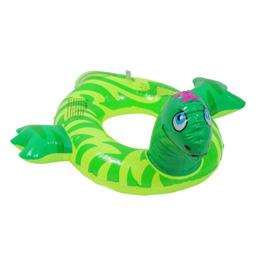 """24"""" Inflatable Green and Yellow Dinosaur Swim Ring Tube Pool Float"""