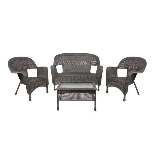"""4 Piece Brown Steel Resin Wicker Outdoor Patio Furniture Set 52"""""""