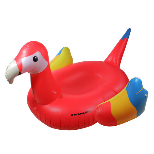 """93"""" Inflatable Yellow and Red Scarlet Macaw Novelty Swimming Pool Raft"""