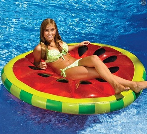 """61.5"""" Inflatable Red and Green Watermelon Fruit Slice Swimming Pool Lounger"""