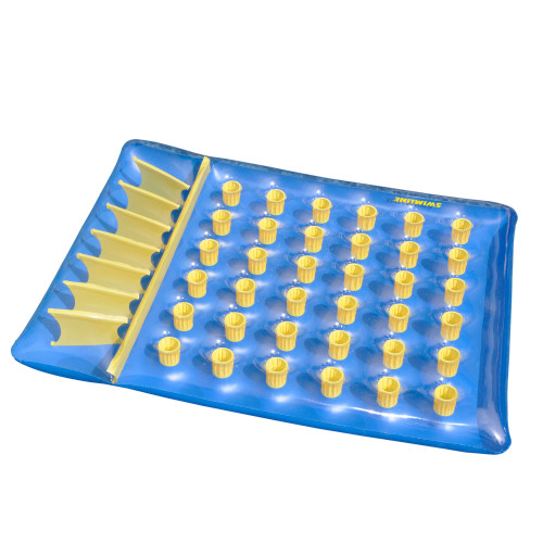"""78"""" Inflatable Blue and Yellow Water Sports 36 Pocket Double Pool Mattress"""