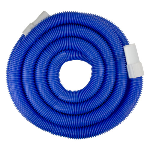"""21' x 1.25"""" Blue Blow Molded Swimming Pool Vacuum Hose with Swivel Cuffs"""