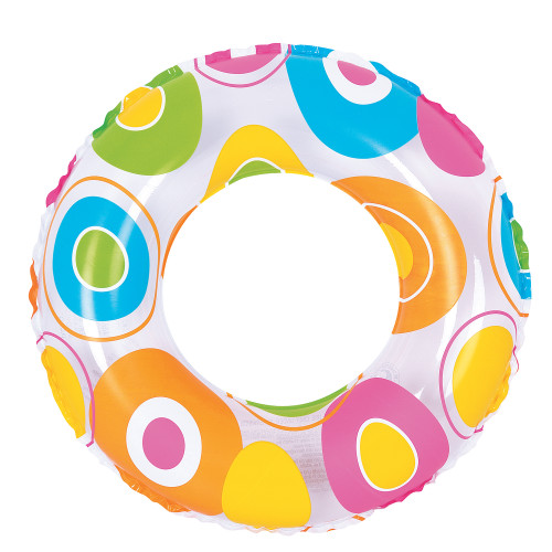 """24"""" Inflatable Multicolor Circle Print Swimming Pool Inner Tube Ring Float, 24-Inch"""