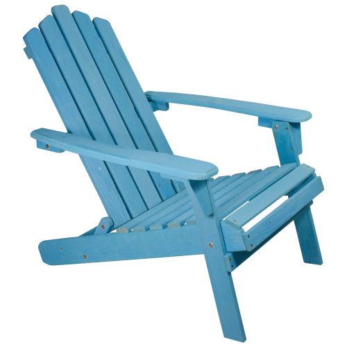 "36"" Blue Classic Folding Wooden Adirondack Chair"