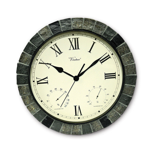 """15"""" Battery Operated Faux Stone Large Print Roman Numeral Outdoor Clock with Thermometer and Hygrometer"""