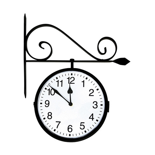 """18"""" Battery Operated Black and White Double-Sided Large Print Mounted Outdoor Clock"""