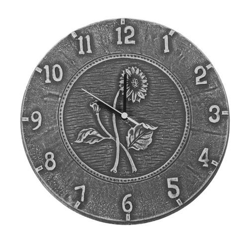 """12"""" Weathered Gray Terra Cotta Embossed Sunflower Indoor or Outdoor Wall Clock"""