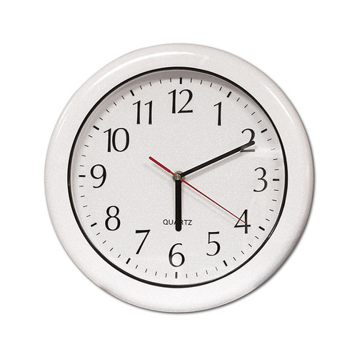 """16"""" Battery Operated Ivory White and Silver Large Print Outdoor Clock"""