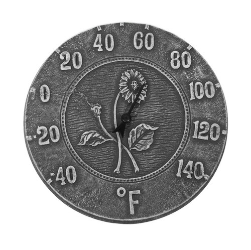 """12"""" Weathered Gray Terra Cotta Embossed Sunflower Indoor or Outdoor Wall Thermometer"""