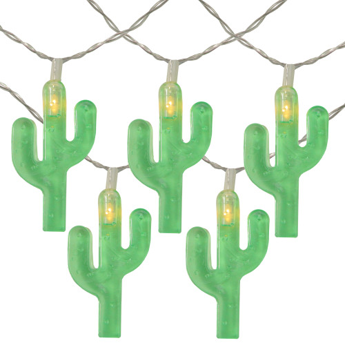 10-Count Green Cactus LED String Lights - 4.5ft Clear Wire