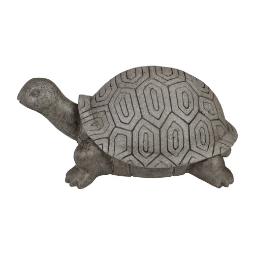 """11.75"""" Polished Gray Turtle Outdoor Garden Statue"""