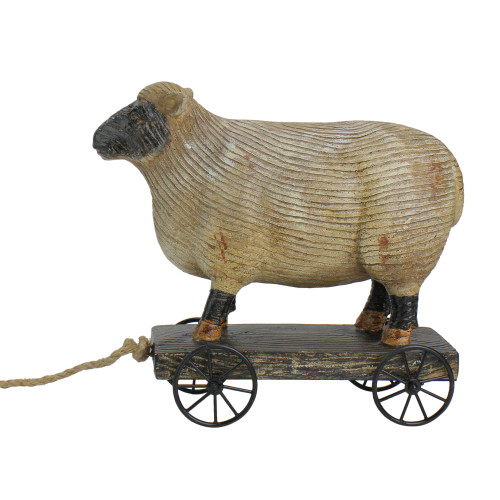 """10"""" Black and White Wood Textured Sheep on Cart Outdoor Garden Statue"""