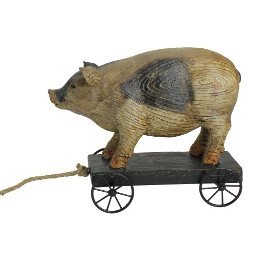 """10"""" Black and White Wood Textured Pig on Cart Outdoor Garden Statue"""